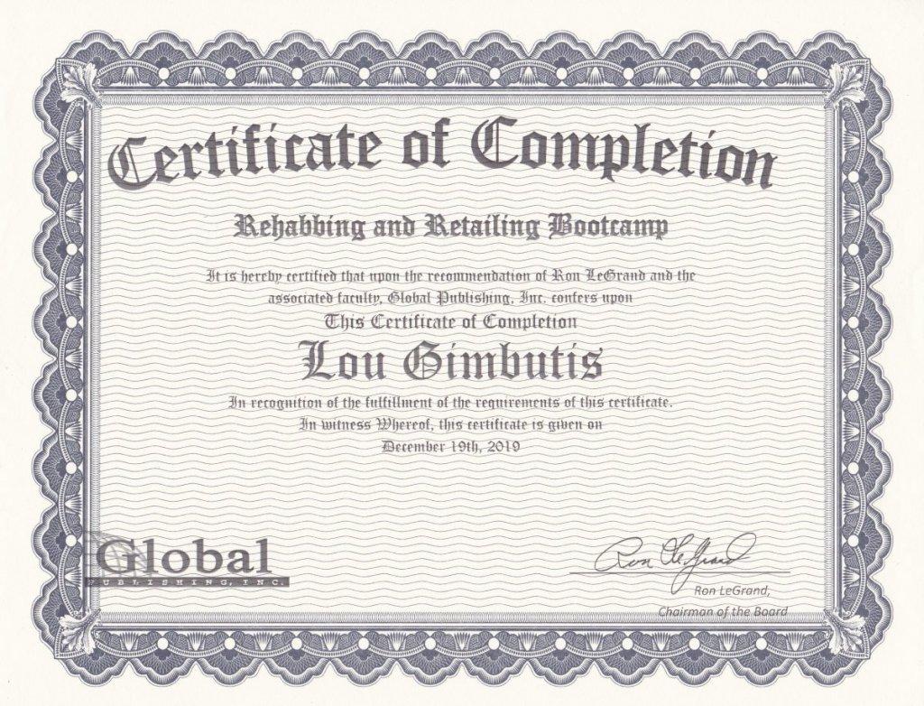 Rehabbing Rons Way Certificate
