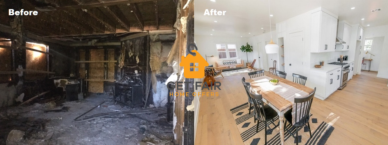 before & after example of a house we buy in Los Angeles