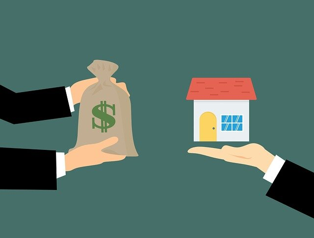 An illustration of two pairs of hands, one holding a bag of money and the other holding a house.