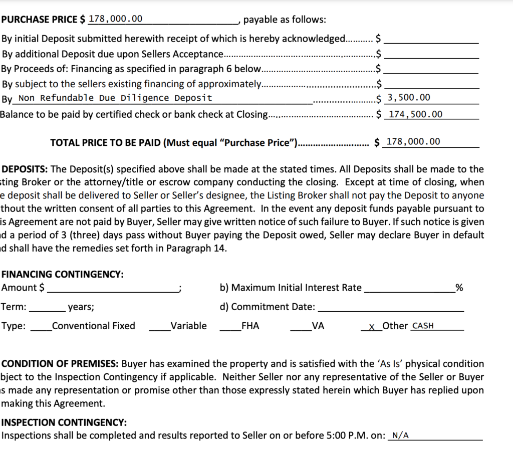 How Our Offer Agreement Looks