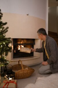 holiday fire place open house ideas