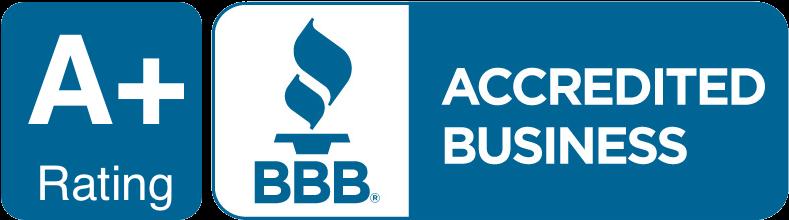 Better Business Bureau logo that says A+ Rating