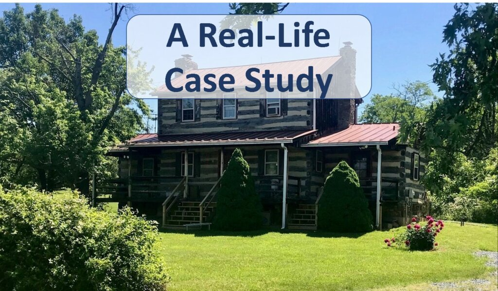 """log cabin with trees around it with text that says """"real life case study"""""""