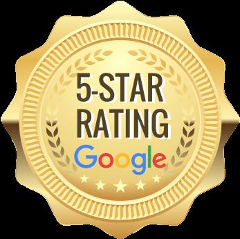 "gold emblem that says ""5-Star Rating Google"""