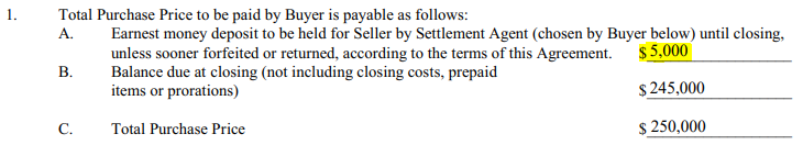 excerpt from real estate contract showing earnest money deposit and sale price