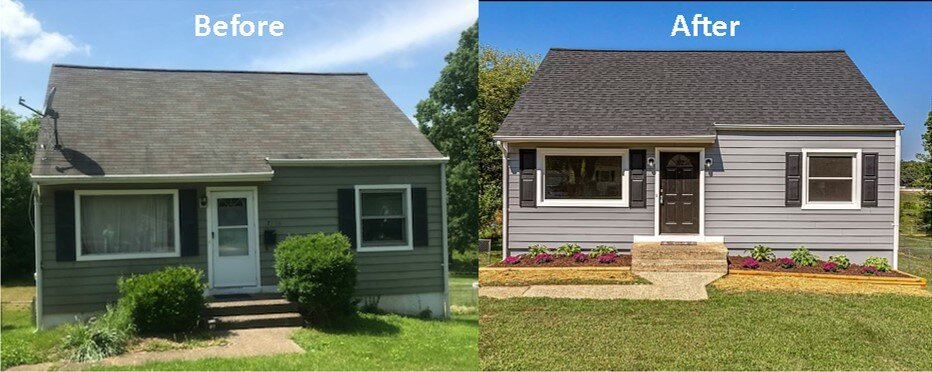 before and after photo of a small house that was repaired and updated