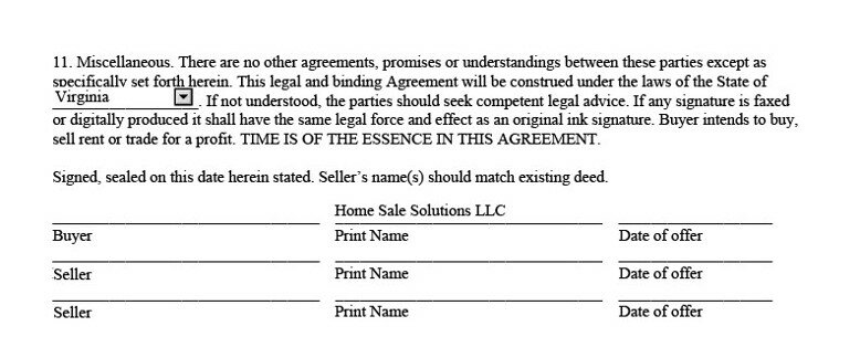 the signature lines of a purchase and sale agreement