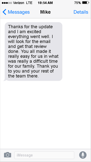 a text message testimonial from someone who worked with Home Sale Solutions