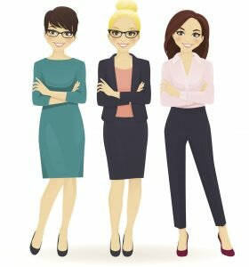 3 cartoon woman that are dressed as professionals