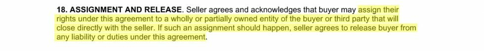 Excerpt from a real estate contract showing an assignment clause
