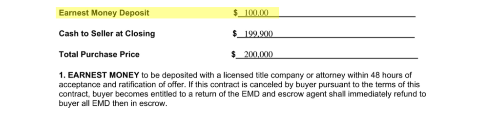 a clause from a real estate contract showing a $100 earnest money deposit (EMD)
