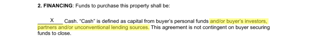 Excerpt from a real estate contract showing the financing clause