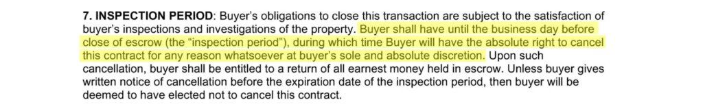 Excerpt from a real estate wholesaler contract showing an inspection contingency