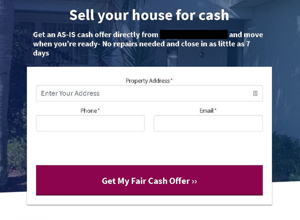 a form for someone looking to sell their house as is