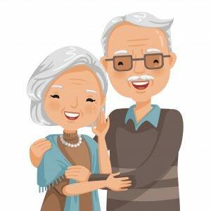 cartoon of an elderly couple with grey hair