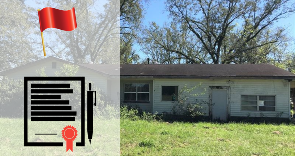 dilapidated house that needs to be fixed up with a graphic of a contract and a red flag