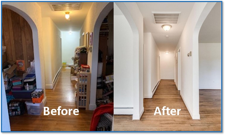 before and after picture of the interior hallway of a home after it was renovated