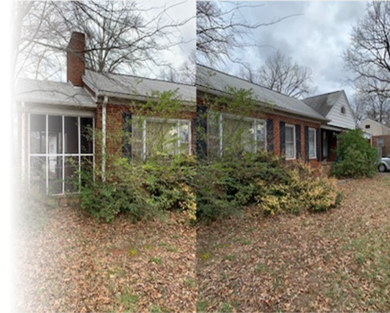 picture of a 1 story brick house with trees and bushes overgrown and clouds in the background