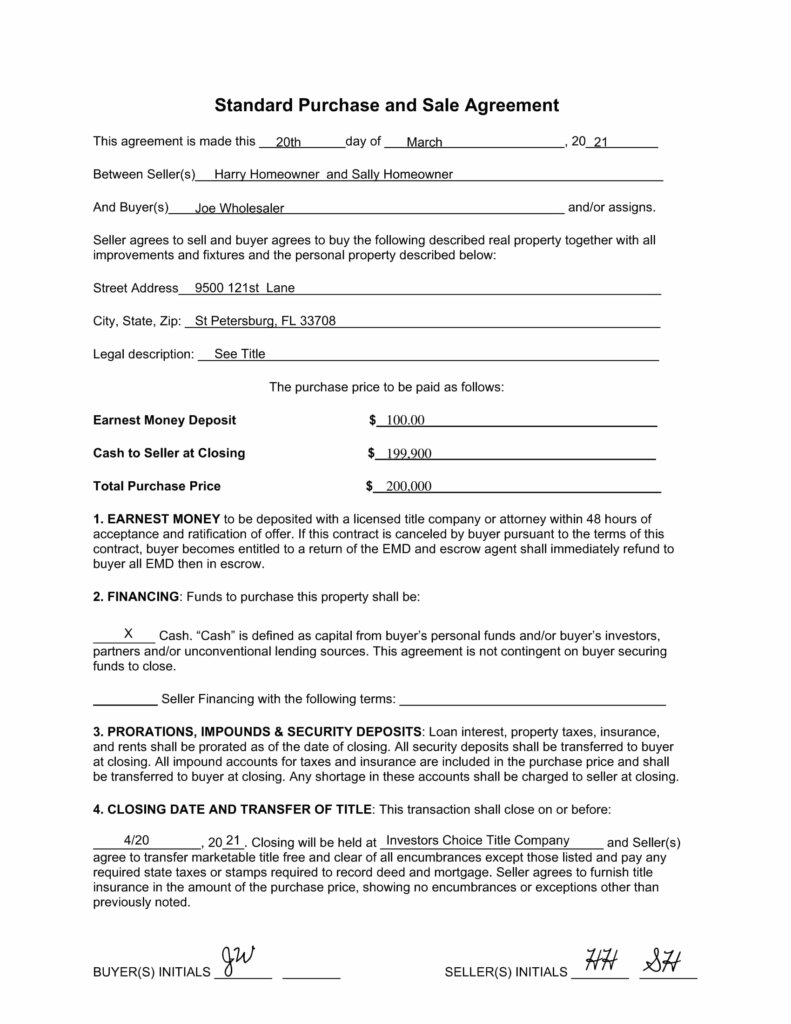 page 1 of 4 of a sample contract used by real estate wholesalers that find people looking to sell a house as is