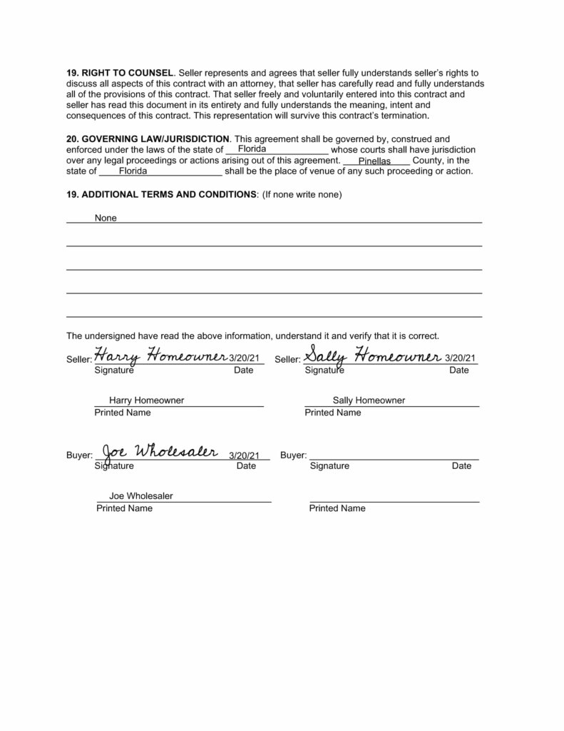 page 4 of 4 of a sample contract used by real estate wholesalers that find people looking to sell a house as is