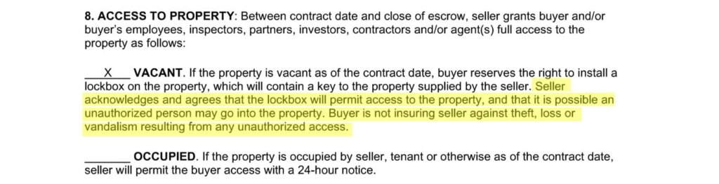 Excerpt from a real estate contract showing a clause about access to property