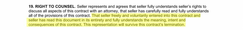 Excerpt from a real estate contract showing a clause about right to counsel