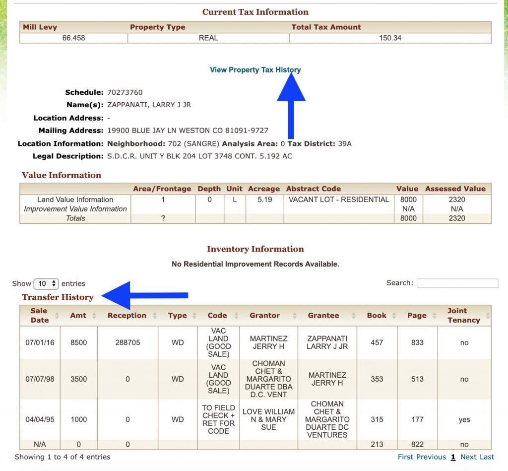 Costilla County Treasurer Online Database Example
