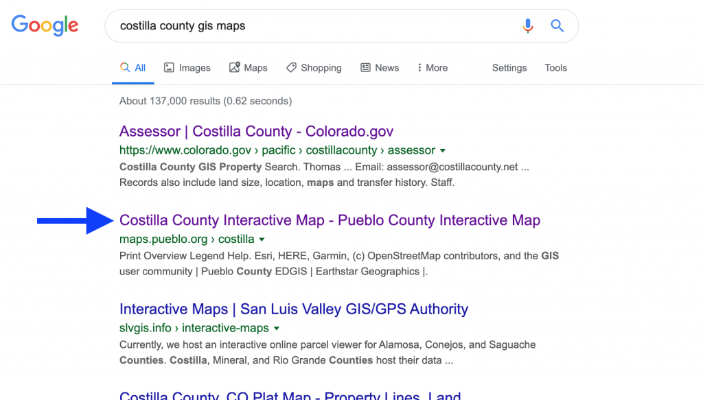 Google Search for Costilla County GIS Maps