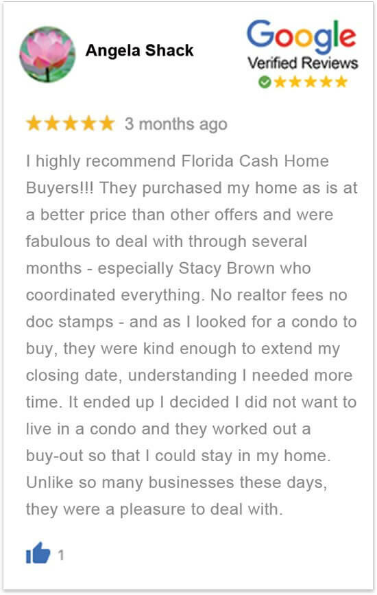 sell my house in florida without a realtor happy review by Angela