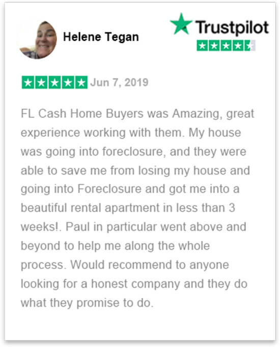 happy review by Ms Helene who sold her house in florida fast without a realtor to florida cash home buyers