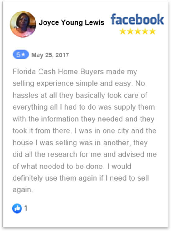 happy review by Joyce Lewis who sold her house in florida fast without a realtor to florida cash home buyers