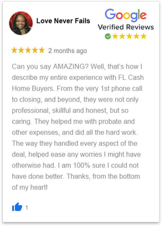 happy review by Lynette who sold her house in florida fast without a realtor to florida cash home buyers