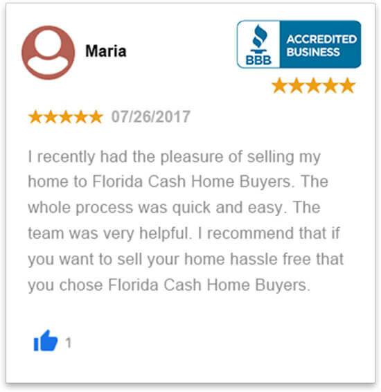 happy review by Maria who sold her house in florida fast without a realtor to florida cash home buyers