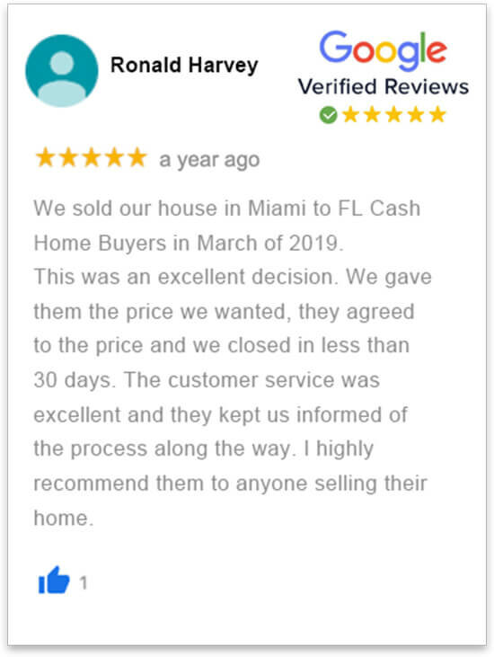 happy review by Ronald Harvey who sold her house in florida fast without a realtor to florida cash home buyers