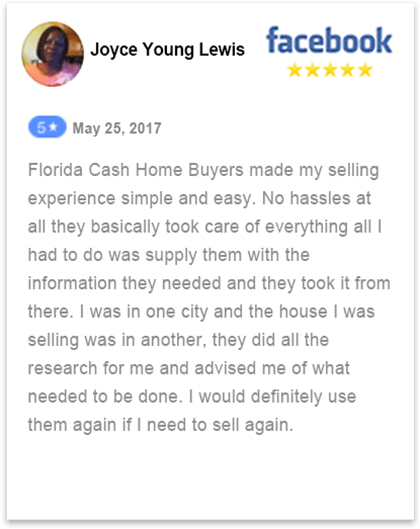 Facebook review by Joyce how she was able to sell her home fast in florida to fl cash home buyers