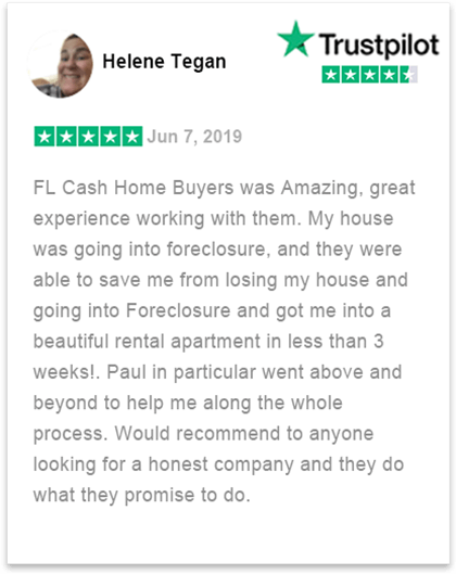 trustpilot review by Helene how she was able to sell her home fast in florida to fl cash home buyers
