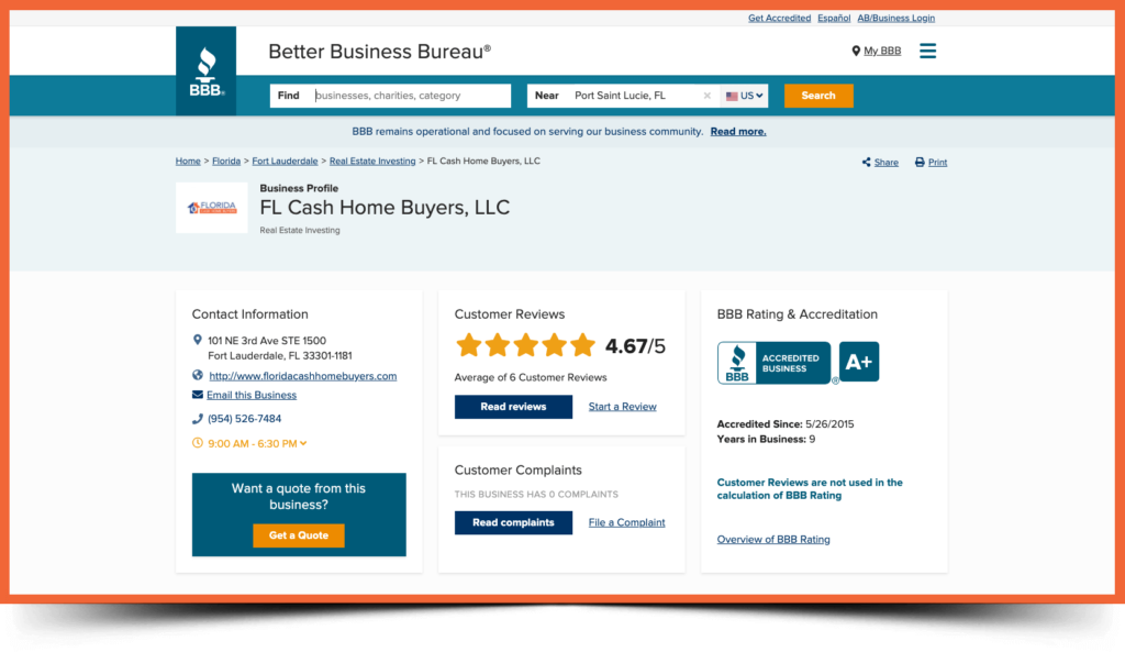 florida cash home buyers bbb page screenshot