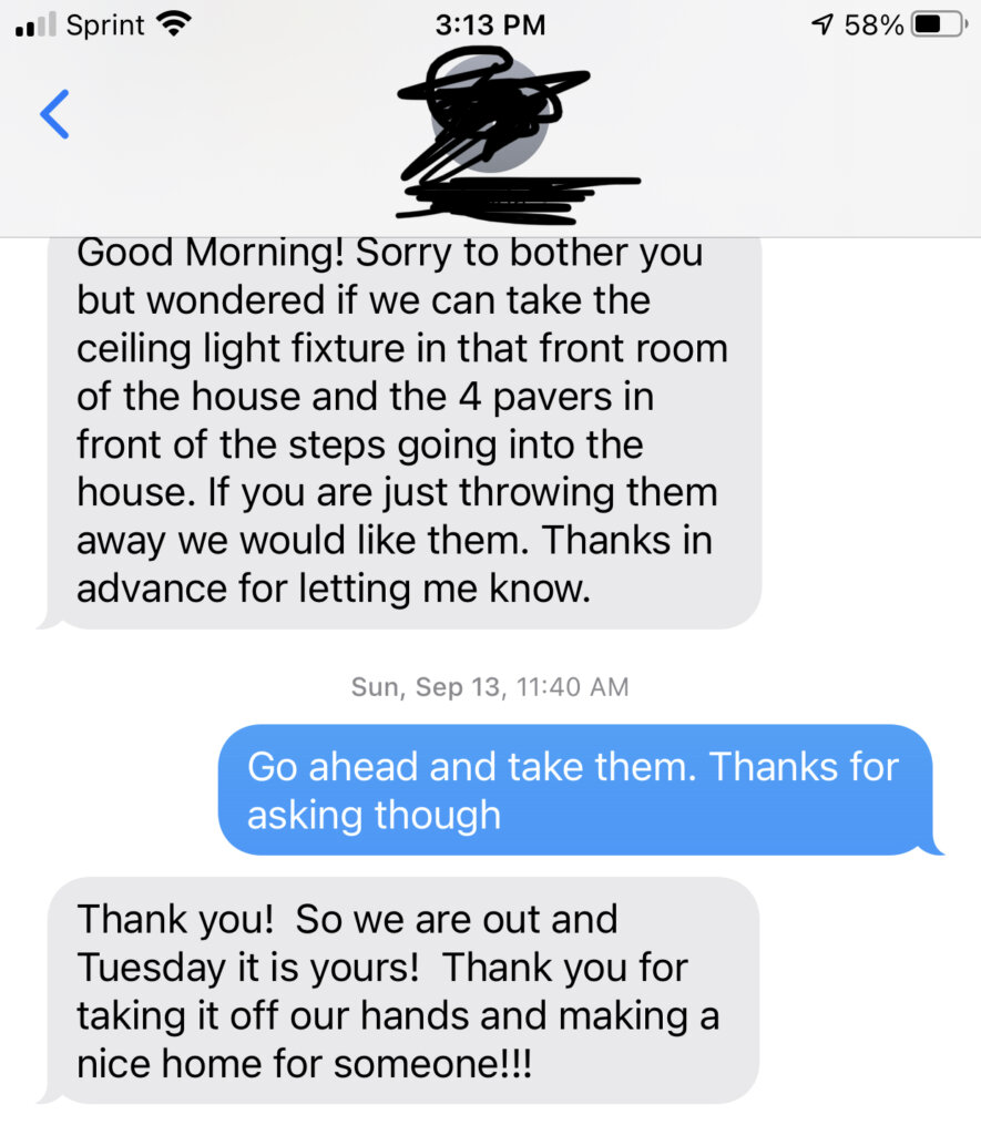Screenshot of a text conversation with one of our customers.