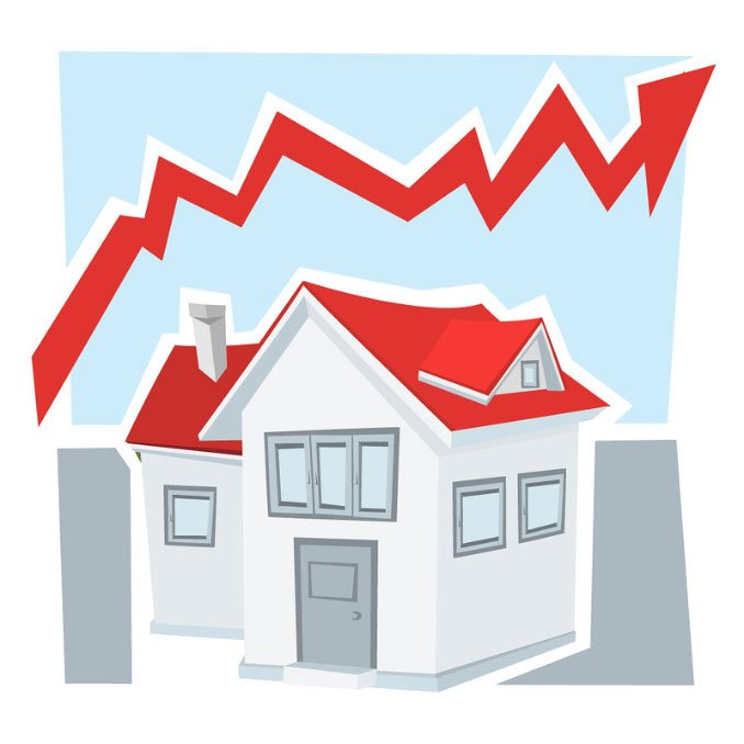 A graphic showing a house with a arrow above it to represent the price of housing.