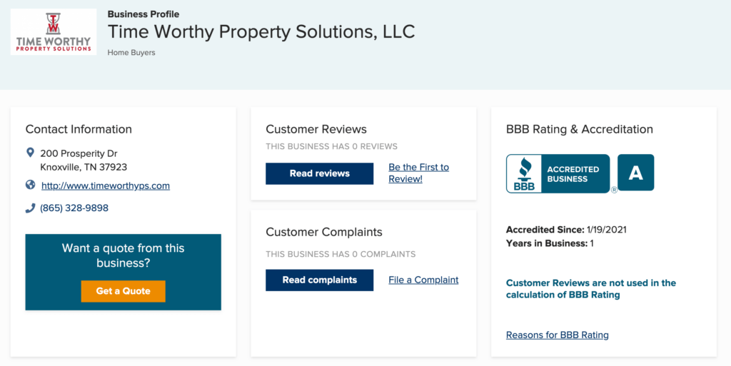 Time Worthy Property Solutions BBB profile