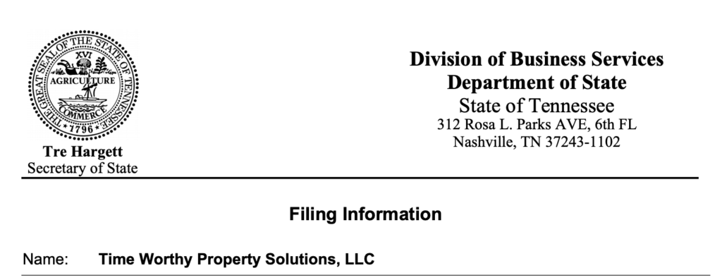 Time Worthy Property Solutions filing documents