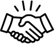 Hands shaking in agreement icon