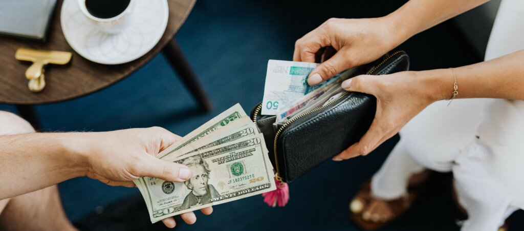 counting how much money you have left to know if you need to save on commission fees