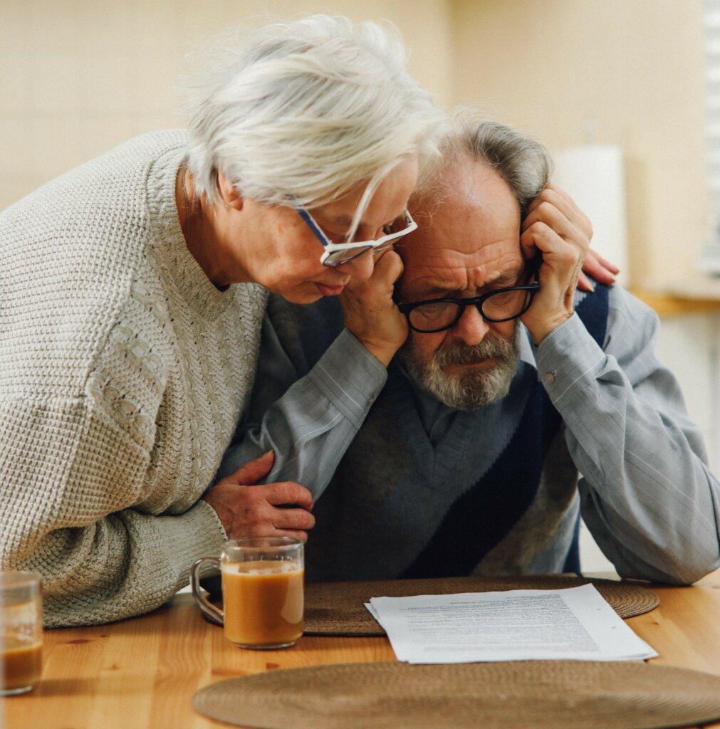 senior citizen couple don't know what to do with the house