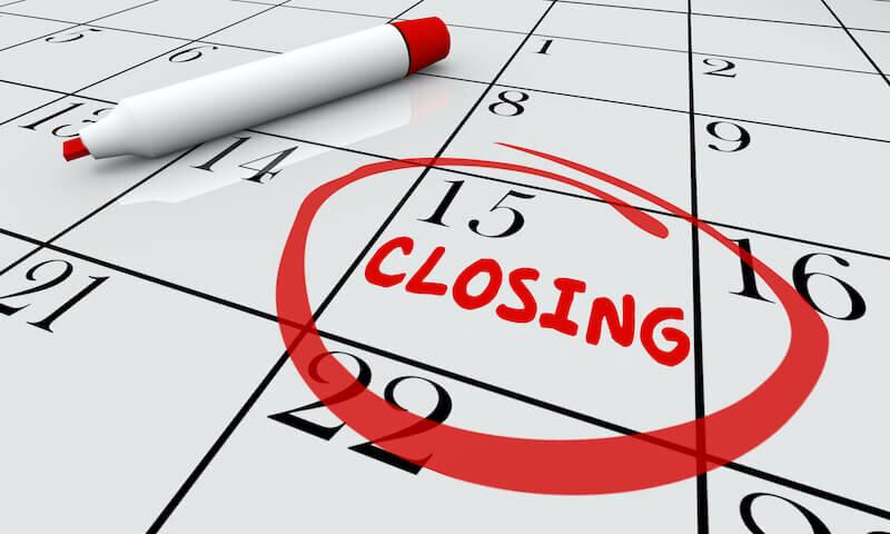 Closing Day Date Calendar Word Circled Close