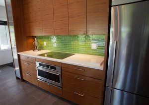 Custom walnut cabinetry