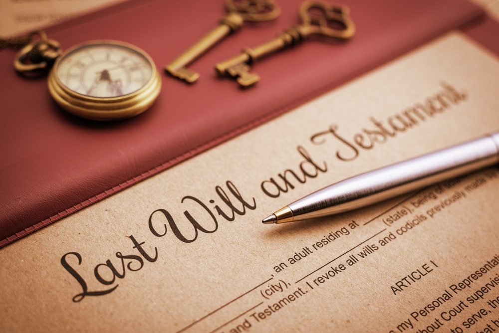 Will and testament image. Probate process.