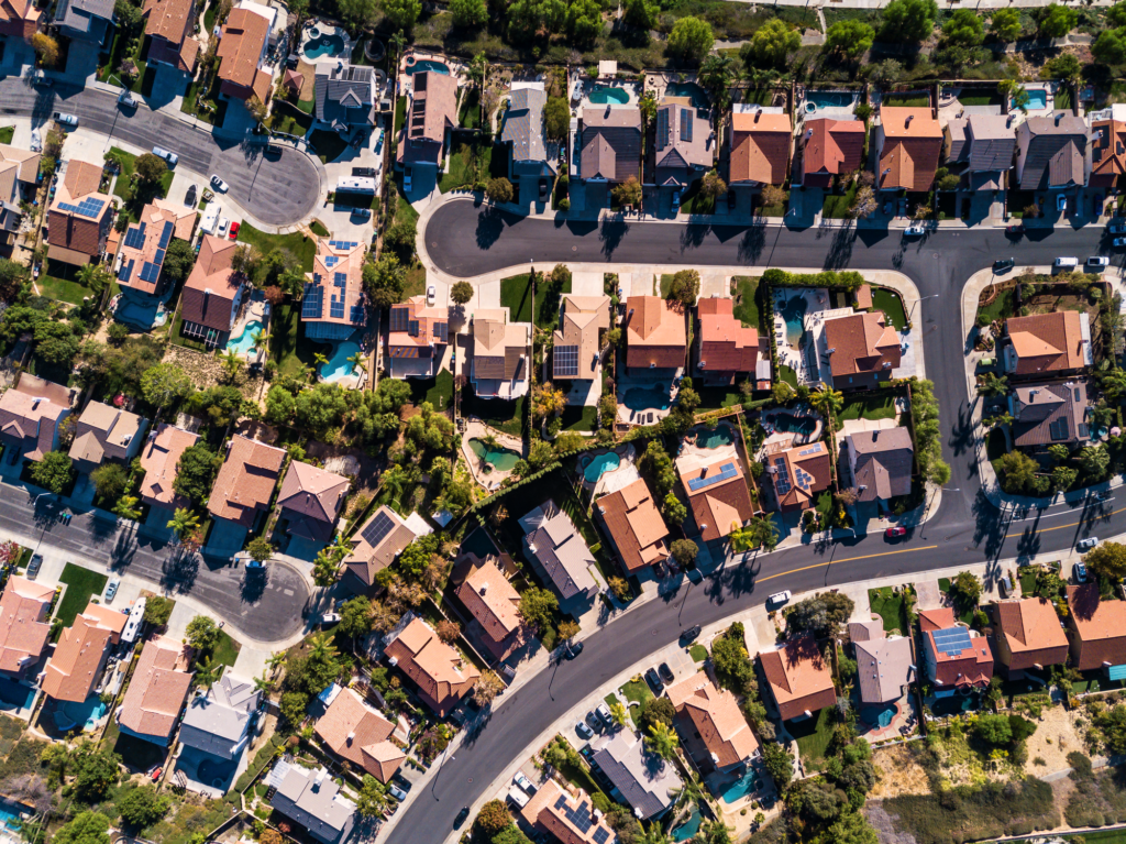 Aerial neighborhood photo - California
