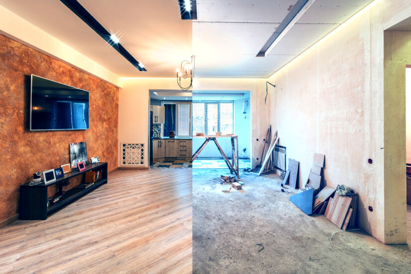 Before and after renovated room.
