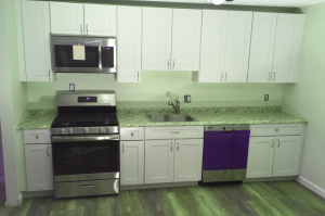 View of kitchen in Camelot Court Condominium Lowell Massachusetts
